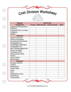 The bride, the groom and the couples' parents can divide the expenses of a wedding with this printable cost division worksheet. Free to download and print