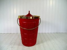 Retro Atomic Red & Gold Trim Champagne Ice Bucket  by DivineOrders, $41.00