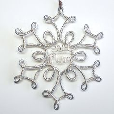 Snowflake Ornament . Personalized Christmas Ornament by wiremajigs