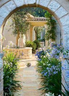 Nice 47 lovely mediterranean garden design ideas for your backyard Small Courtyard Gardens, Small Courtyards, Outdoor Gardens, Courtyard Ideas, Courtyard Design, The Secret Garden, Italian Garden, Italian Courtyard, Spanish Courtyard