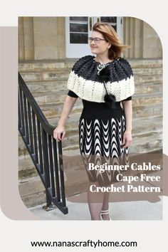 Beginner Cables Cape Free Crochet Pattern by Nana's Crafty Home