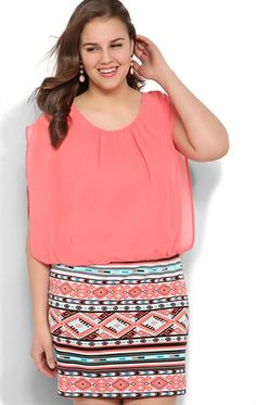 plus size dress with lace tank bodice and chiffon high low skirt