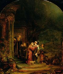 Biblical Paintings - The Visitation by  Rembrandt Harmensz van Rijn