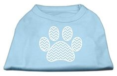 Chevron Paw Screen Print Shirt Baby Blue Lg (14)