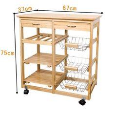 SoBuy Wooden Kitchen Storage Cart with Shelves & Drawers,Hostess Trolley,Kitchen Storage Rack Solid Wood Kitchens, Wooden Kitchen, Diy Kitchen, Kitchen Decor, Kitchen Storage Cart, Kitchen Cart, Storage Rack, Kitchen Furniture, Wood Furniture