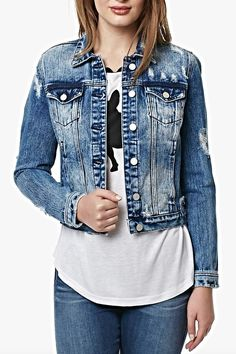 Choose the jacket that goes with everything!  Super cute distressed with front pockets denim jacket.  It's soon to be your favorite in your closet!  Distressed Jean Jacket by Buffalo David Bitton. Clothing - Jackets Coats & Blazers - Jackets - Denim Florida