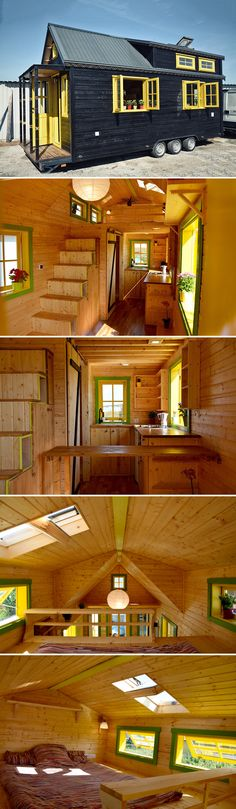 From Romania is the Bumblebee tiny home, built by Tiny Wunder House. The black exterior has yellow highlights including the front door and windows.