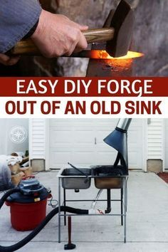 Easy DIY Forge Out Of An Old Sink — Easy DIY project we all could at least try and get some sort of blacksmithing skills before SHTF. I love the simplicity of this forge set up.I think having a little knowledge of this old skill could come in very handy if SHTF. #fiyforge #forge #diy #upcycle #homestead