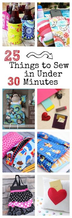 25 Things to Sew in Under 30 Minutes-Quick & Easy DIY sewing projects. Fabulous ideas for homemade Christmas gifts this holiday. Windel wickeln Easy Sewing Patterns: 25 Things to Sew in Under 30 Minutes Diy Sewing Projects, Sewing Projects For Beginners, Easy Projects, Sewing Hacks, Sewing Tutorials, Sewing Crafts, Sewing Tips, Sewing Ideas, Fabric Crafts