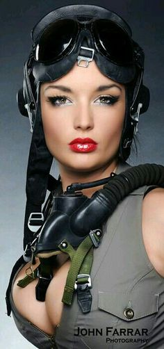 "le-tetard-qui-tete: ""Aviatrice Flying Helmet More flying pin up in Aviation Pinups and girls and aeroplanes """