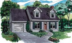 Elevation of Cape Cod   House Plan 55190