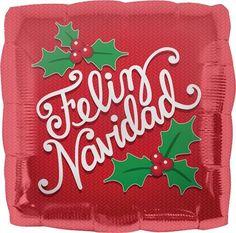 Feliz Navidad Red Holly Square Balloon