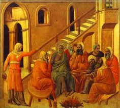 """Then the maid who was the gatekeeper said to Peter, """"You are not one of this man's disciples, are you?"""" (John // Peter First Denying Jesus (Maestà) // // Duccio di Buoninsegna // Museo dell'Opera del Duomo, Siena Italian Paintings, European Paintings, Duccio Di Buoninsegna, Pop Art, Siena Cathedral, Jesus Art, Biblical Art, Reproduction, Caravaggio"""