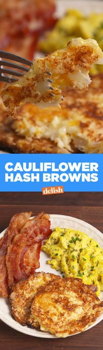 Cauliflower Hash Browns are the low-carb breakfast side that will save your diet. Get recipe from Delish.com.