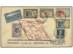 ZEPPELIN. 1930 (May 22). ARGENTINA. LZ 127 flight cover franked by San Martin 12c. blue and 1930 Zeppelin blue surcharged set of five complete (Scott C20-C24) all tied by Buenos Aires cds?s. Violet Zeppelin cachet and further EUROPE PAN-AMERICA ROUND FLIGHT cachet (Type I) also in violet below. Scarce. Sieger 63D var.    Dealer  SOLER Y LLACH    Auction  Minimum Bid:  180.00 EUR