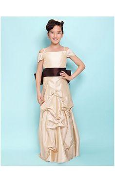 379d313db A-line Spaghetti Straps Floor-length Taffeta Junior Bridesmaid Dress