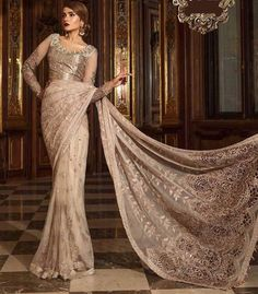 Buy Designer Pakistani Indian Saree In Pink Gold Color - Beautiful Handwork On Blouse Neck With Tilla,Threads Embroidery Sequance And Pearls Work, Visit Now : www.NameerabyFarooq.com or Call / Whatsapp : +1 732-910-5427