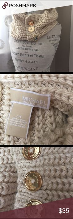 Michael Kors Loop Scarf Cream colored loop scarf with gold buttons MICHAEL Michael Kors Accessories Scarves & Wraps