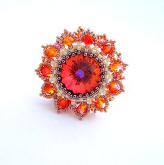 Swarovski Ring/ Swarovski Beads Ring /Bead Jewelry/ by Ranitit