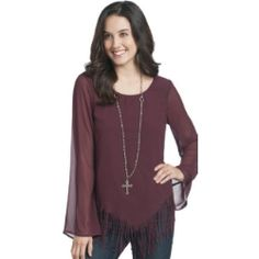 Fun with a timeless style!  Women's RU Maroon Ashby Fringe Blouse....