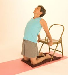 The Camel Pose (Ustrasana), intro version suitable for stiff backs.
