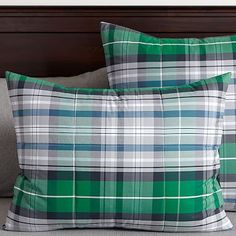 Portsmith Plaid Standard Sham, Navy/Green