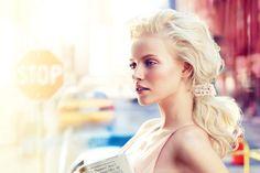 messy ponytail at Calvin Klein - Chanel clip