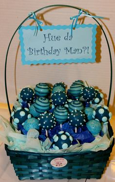 Add a personalized sign/message to your cake pop bouquet/basket  www.sweetapeel.com