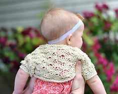 """My little girl needed a lightweight spring shrug to wear with sleeveless dresses on chilly days, so I came up with this quick and easy, vintage-style shell shrug (""""vintage-style"""" in that it reminds me a bit of the clothing I admire on the BBC Jane Austen movies :-P)."""