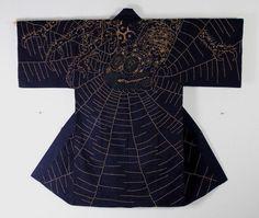 Edo Sashiko-embroidery big spider Hanten