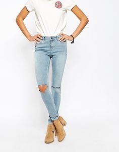 ASOS Lisbon Skinny Midrise Jeans in Petal Bleach out Wash With Busted Knees