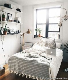 101 Simple Small Bedroom Design Ideas That Are Look Stylishly Space Saving - Home Bedroom, Bedroom Decor, Bedroom Ideas, Master Bedroom, Bedroom Shelves, Queen Bedroom, Gray Bedroom, Modern Bedroom, Dream Rooms