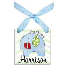 First Christmas Elephant Boy Personalized Ornament  $38