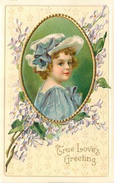 Clapsaddle~Lil Girl~Blue Dress~In Oval~Lavender Lilies~Gold~Emb~Intl Art~Ser1026 picclick.com