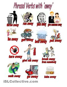 """Estudia inglés en Irlanda & Collins- Phrasal Verbs with the word """"away"""" and all their different meanings."""
