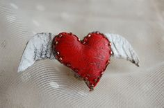 Red Heart with wings brooch by diddywadiddy on Etsy, $48.00