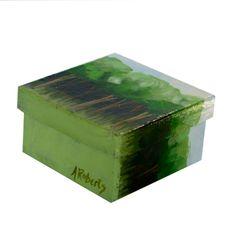 Avocado Green Trees Jewelry Gift Box Hand by annarobertsart