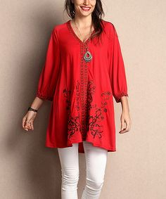 Another great find on #zulily! Red Floral Embroidered Notch Neck Tunic - Plus #zulilyfinds