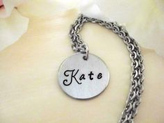Personalized Jewelry Flower Necklace Hand Stamped by CharmAccents, $19.00
