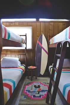 awesome kids' room...bunk beds with pendleton blankets and navajo rug