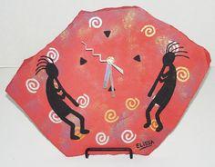 Kokopelli/Southwest Themed Original Flagstone Art Clock W/Easel By Elissa Shakal #SouthwestFolkKokopelli