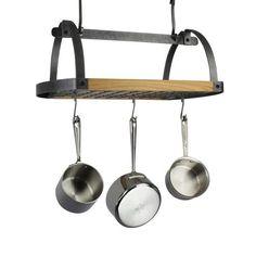 Decor Oval Ceiling Pot Rack w/ Alder Shelf Hammered Steel
