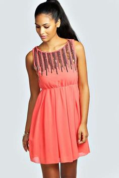 Anna Sequin Embellished Pleated Skater Dress at boohoo.com