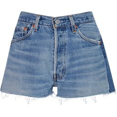 Re/done     2-Tone Denim Shorts ($210) ❤ liked on Polyvore featuring shorts, bottoms, jeans, re/done, light wash, denim shorts, mid rise jean shorts, denim short shorts, jean shorts and mid rise shorts