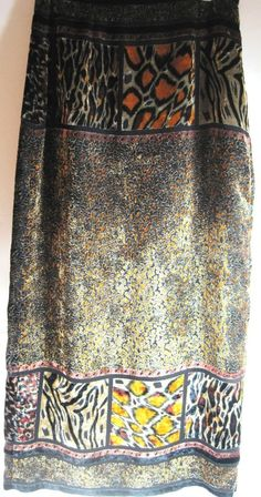 Carole Little Women Wrap Skirt Size 10 Black Brown Gray Rayon.  TTT 113 #CaroleLittle #WrapSarong