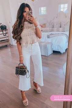 Culotte High Ankle White Jeans Outfit. With Wedges and cute top. Emily Gemma, The Sweetest Thing Blog #EmilyGemma #theSweetestThingBlog White Jeans Outfit, Jeans Outfit Summer, Cool Summer Outfits, Summer Outfits Women, Business Casual Outfits, Cute Casual Outfits, Simple Outfits, High Fashion Outfits, Clothing Blogs