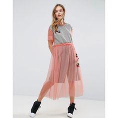 ASOS X LOT STOCK & BARREL Mesh Dress With Cherries (1.445 RUB) via Polyvore featuring dresses, pink, pink dress, embroidered dress, pink vintage dress, embroidery dresses и jersey dress