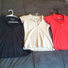 3 polo style shirts Dark grey, tan, and pretty orange colored polo style shirts. Ambiance brand is a little more fitting and a stylish option for polo shirts. All size medium Ambiance Apparel Tops
