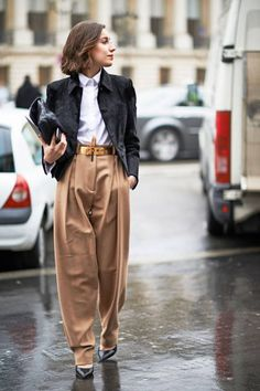 Baggy pants + cropped jacket spotted on the streets of Paris