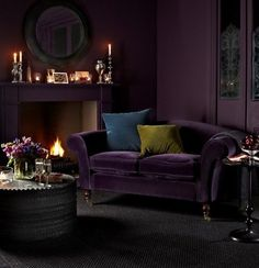 09 Deep And Moody Aubergine Purple Of This Living Room Draws One In. 09 Deep And Moody Aubergine Purple Of This Living Room Draws One In. 09 Deep And Moody Aubergine Purple Of This Living Room Draws One In Winter Living Room, Home Living, Living Room Sofa, Cottage Living, Modern Living, Living Area, Living Rooms, Purple Interior, Home Interior
